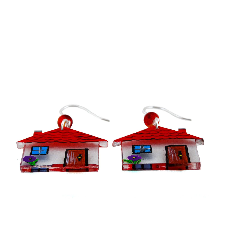 Orecchini dipinti a mano - Home sweet home