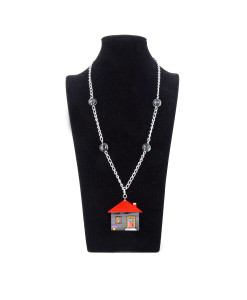 Hand-painted Necklace - Home sweet home
