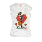 T-shirt dipinta a mano - Omaggio agli innamorati di Peynet