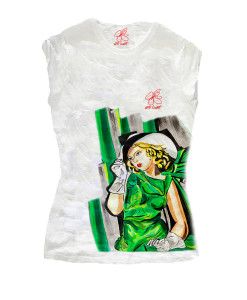 Hand-painted T-shirts - Young girl in green by De Lempicka