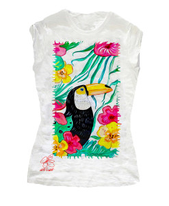 Hand-painted T-shirts - Toucan and Brazil