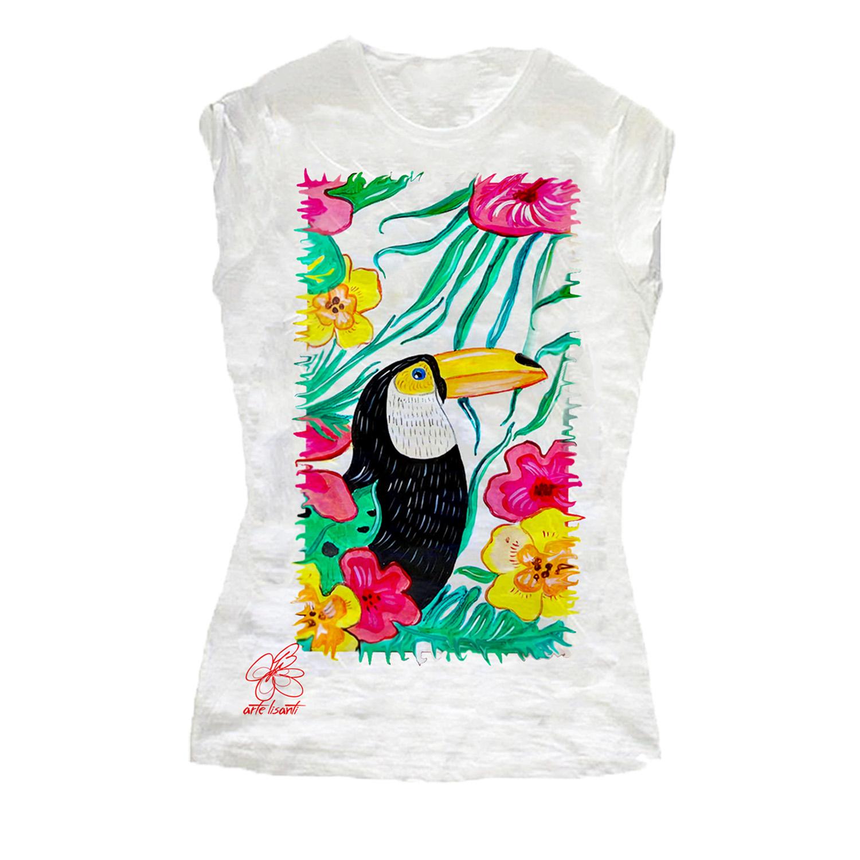 T-shirt dipinta a mano – Tucano e Brasile