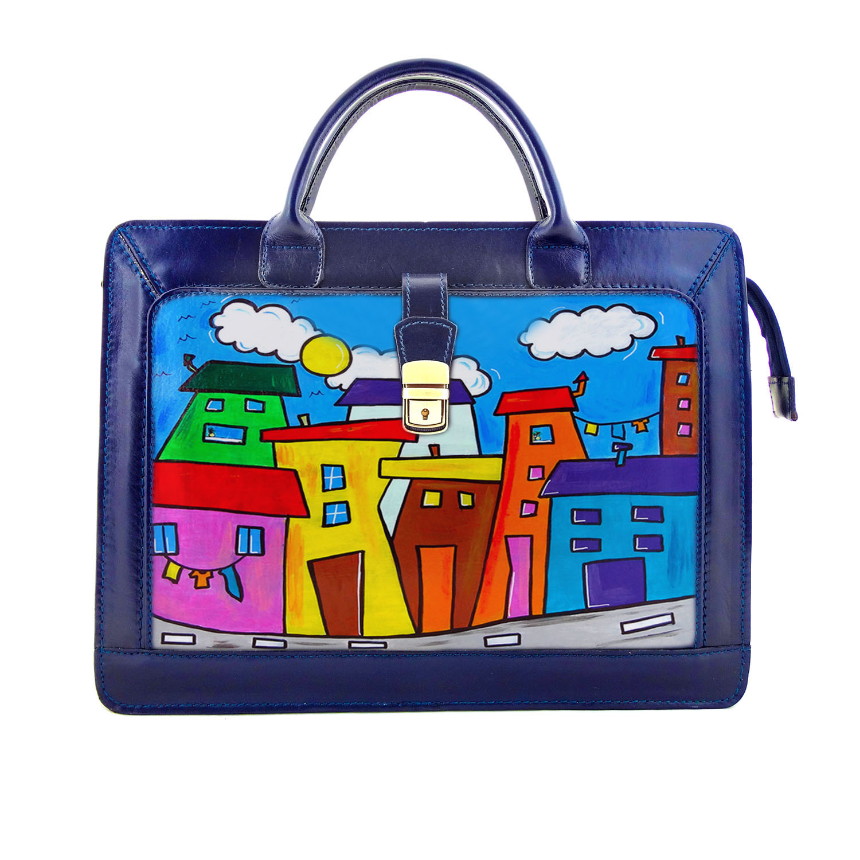 Handpainted bag - Cartoon city day