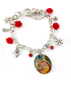 Hand painted bracelet - Tribute to lover Kiss by Sophie Vogel