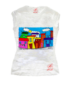 Hand-painted T-shirts - Cartoon city day
