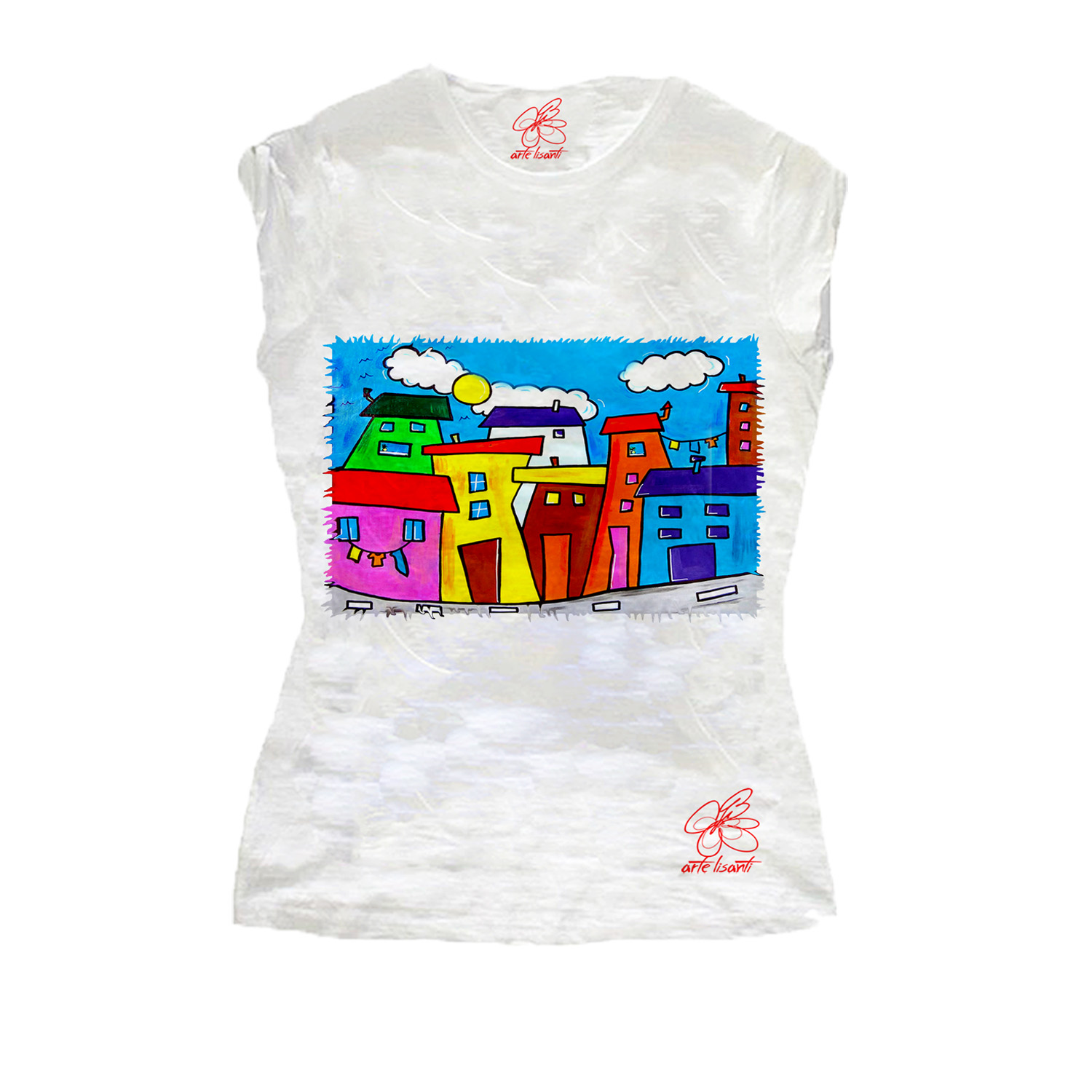 T-shirt dipinta a mano - Cartoon city day