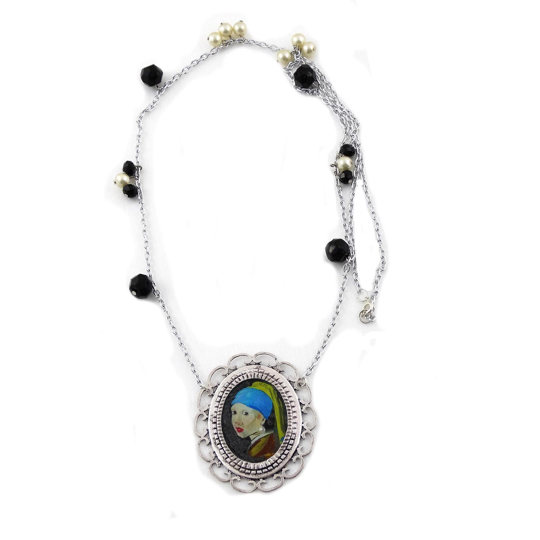 Collana dipinta a mano – Ragazza con l'orecchino di perla di Vermeer