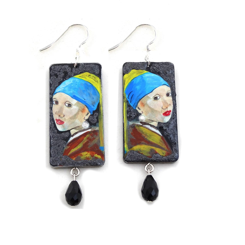 Orecchini dipinti a mano – Ragazza con l'orecchino di perla di Vermeer