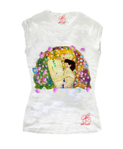 Hand-painted T-shirts - Mother and child by Klimt