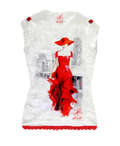 T-shirt dipinta a mano - Lady in red: Skyline