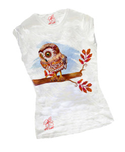 T-shirt dipinta a mano - Civetta