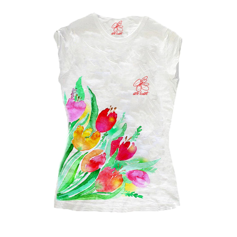 T-shirt dipinta a mano - Tulipani