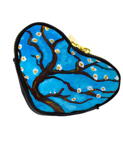 Hand painted coin purse - Almond tree by Van Gogh