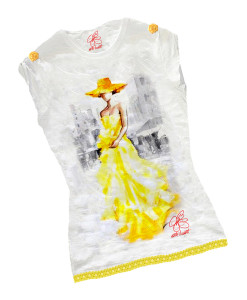 Hand-painted T-shirts - Lady in yellow