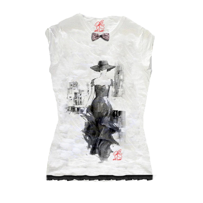 T-shirt dipinta a mano - Chic lady