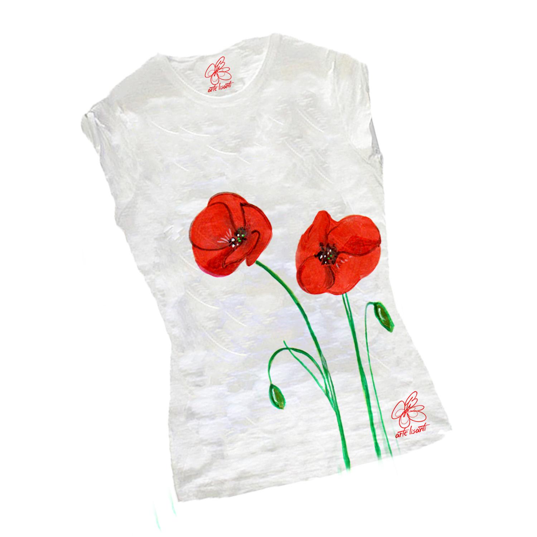 T-shirt dipinta a mano - Papaveri