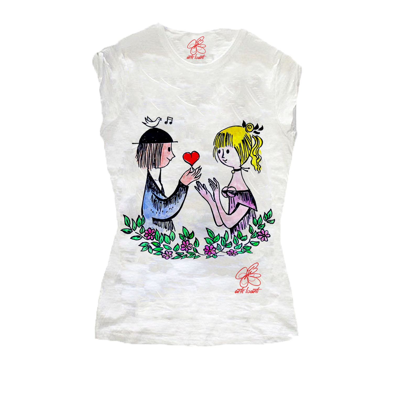 T-shirt dipinta a mano - Dolci innamorati … omaggio a Peynet