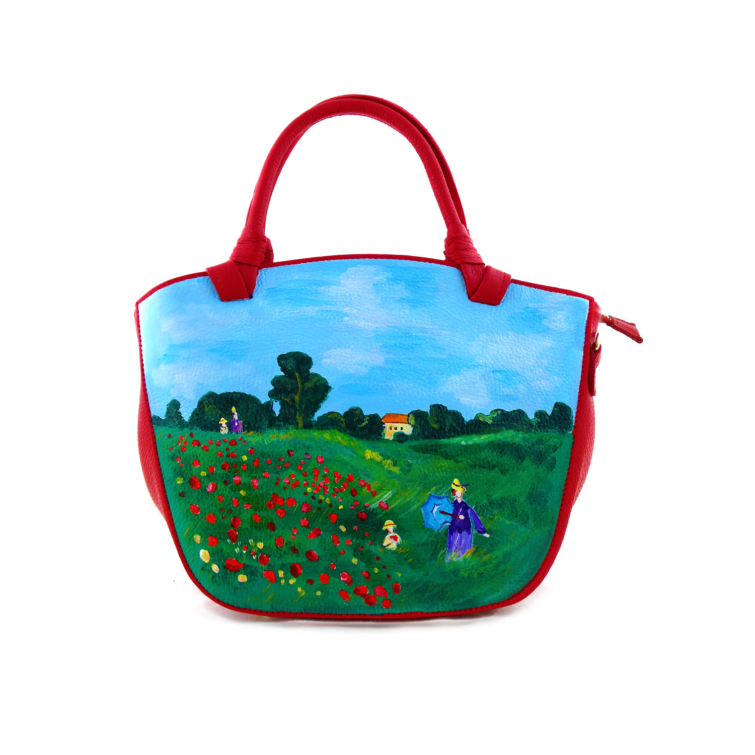 Hand-painted bag - Poppies by Monet