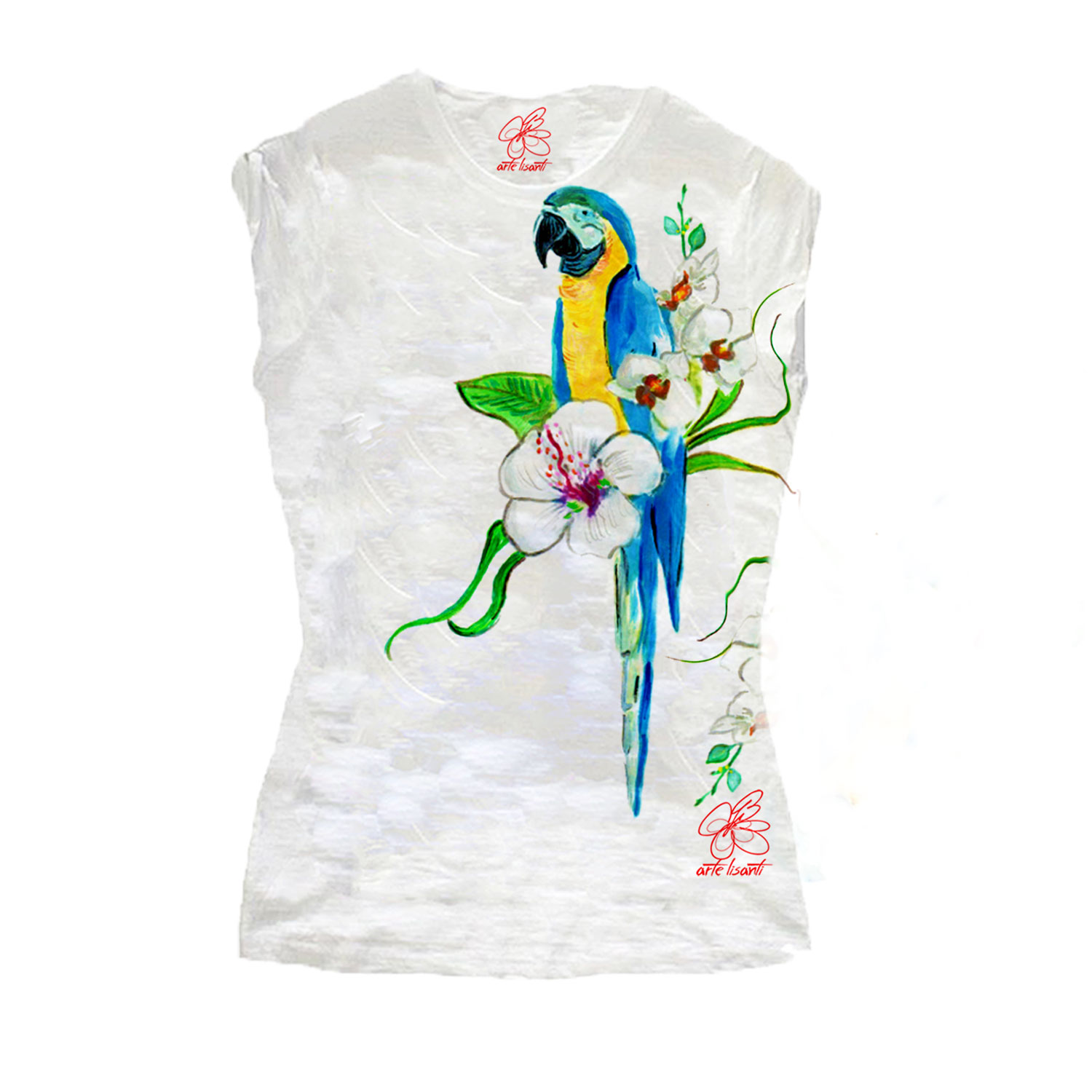 Hand-painted T-shirts - Blue parrot