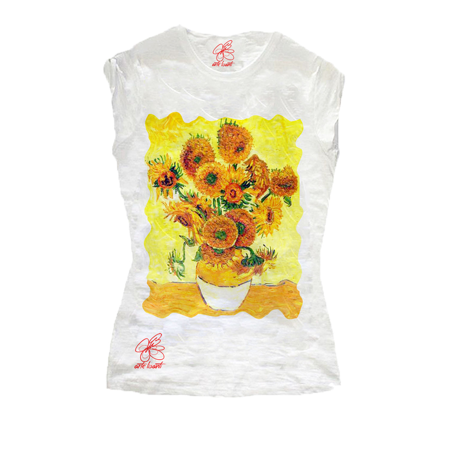 Hand-painted T-shirts - Sunflowers by Van Gogh