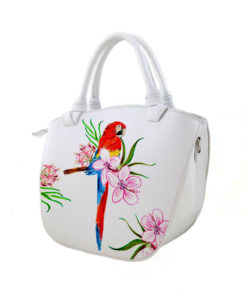 Hand painted bag - Red parrot