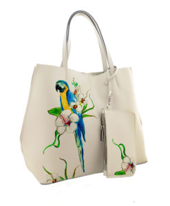 Hand painted bag - Blue parrot