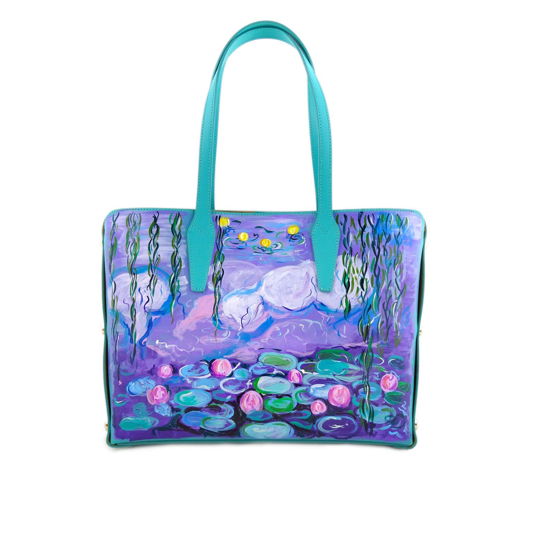 Borsa dipinta a mano – Stagno di ninfee e salice di Monet