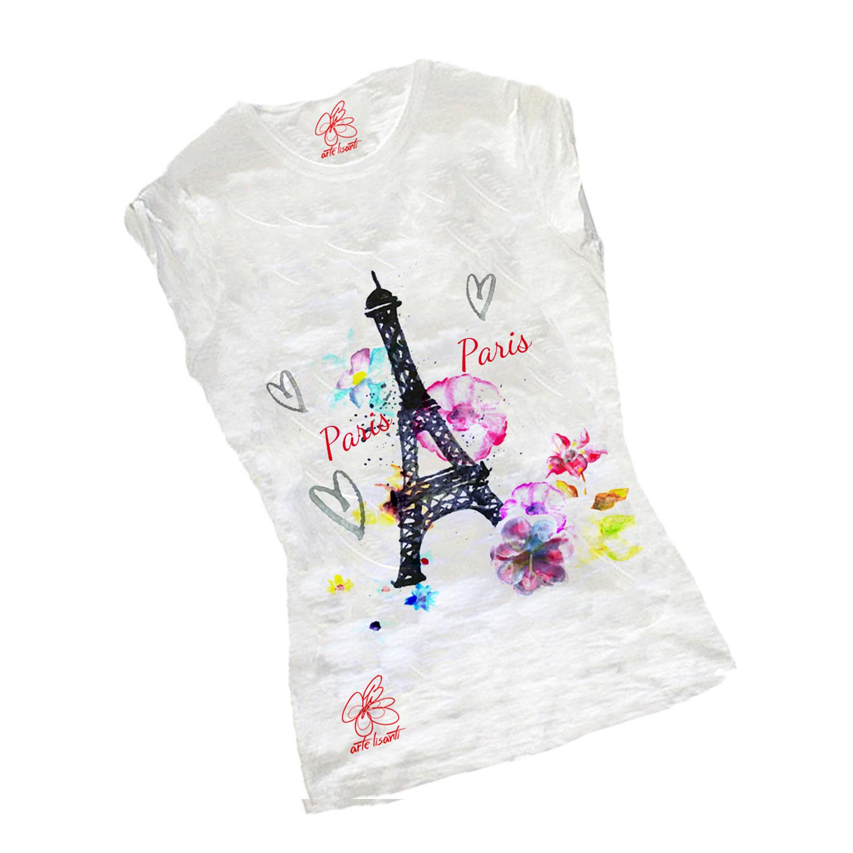 T-shirt dipinta a mano - Paris Paris