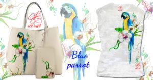 T-shirt dipinta a mano - Blue parrot