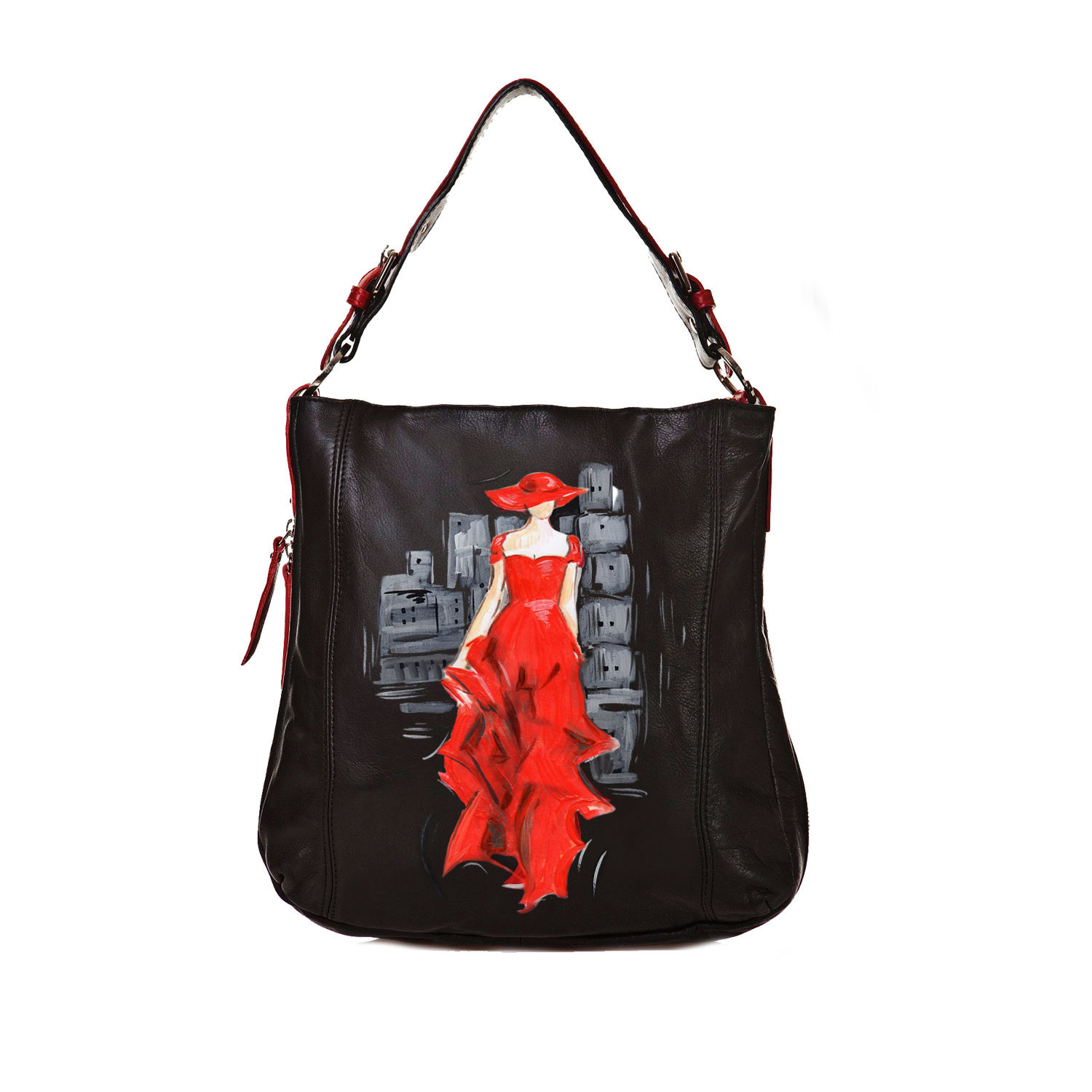 Borsa dipinta a mano - Lady in red