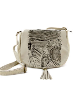 Borsa dipinta a mano – L'urlo di Munch cartoon black and white