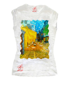 Hand-painted T-shirts - Cafe terrace at night by Van Gogh