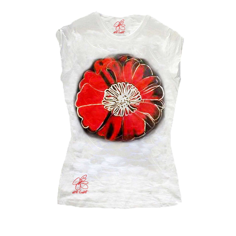 T-shirt dipinta a mano - Flowers di Warhol