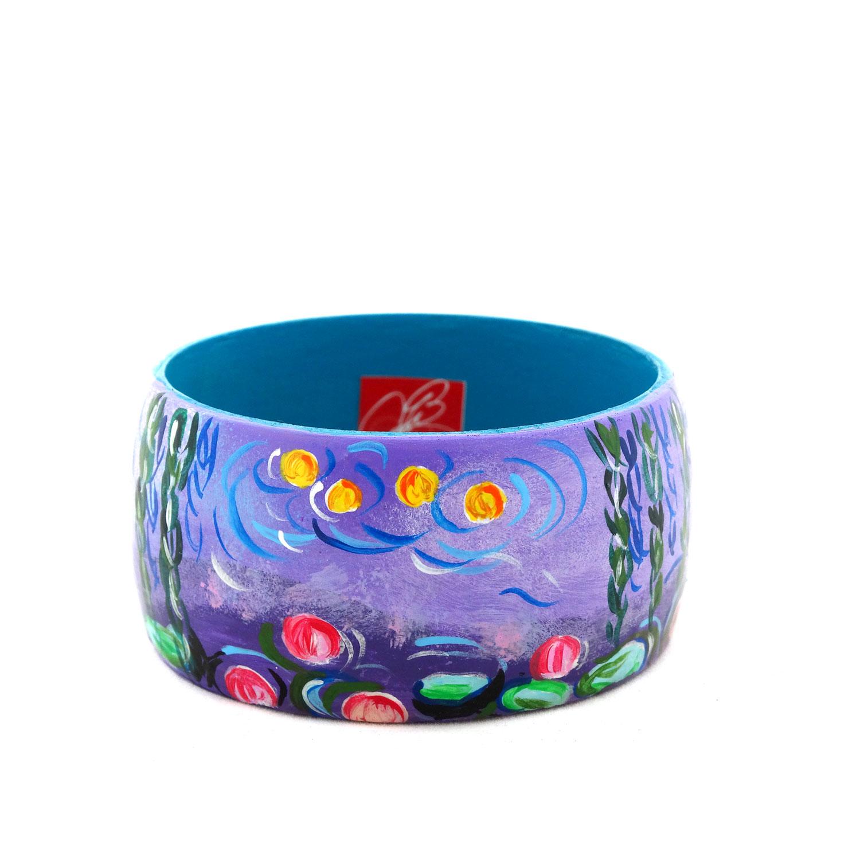Bracciale dipinto a mano - Stagno di ninfee e salice di Monet
