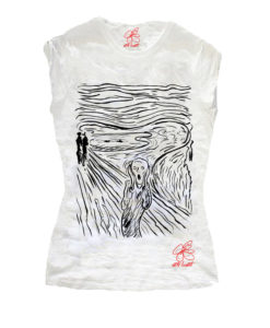 T-shirt dipinta a mano - L'urlo di Munch black and white