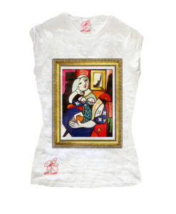 T-shirt dipinta a mano - Donna che legge di Picasso