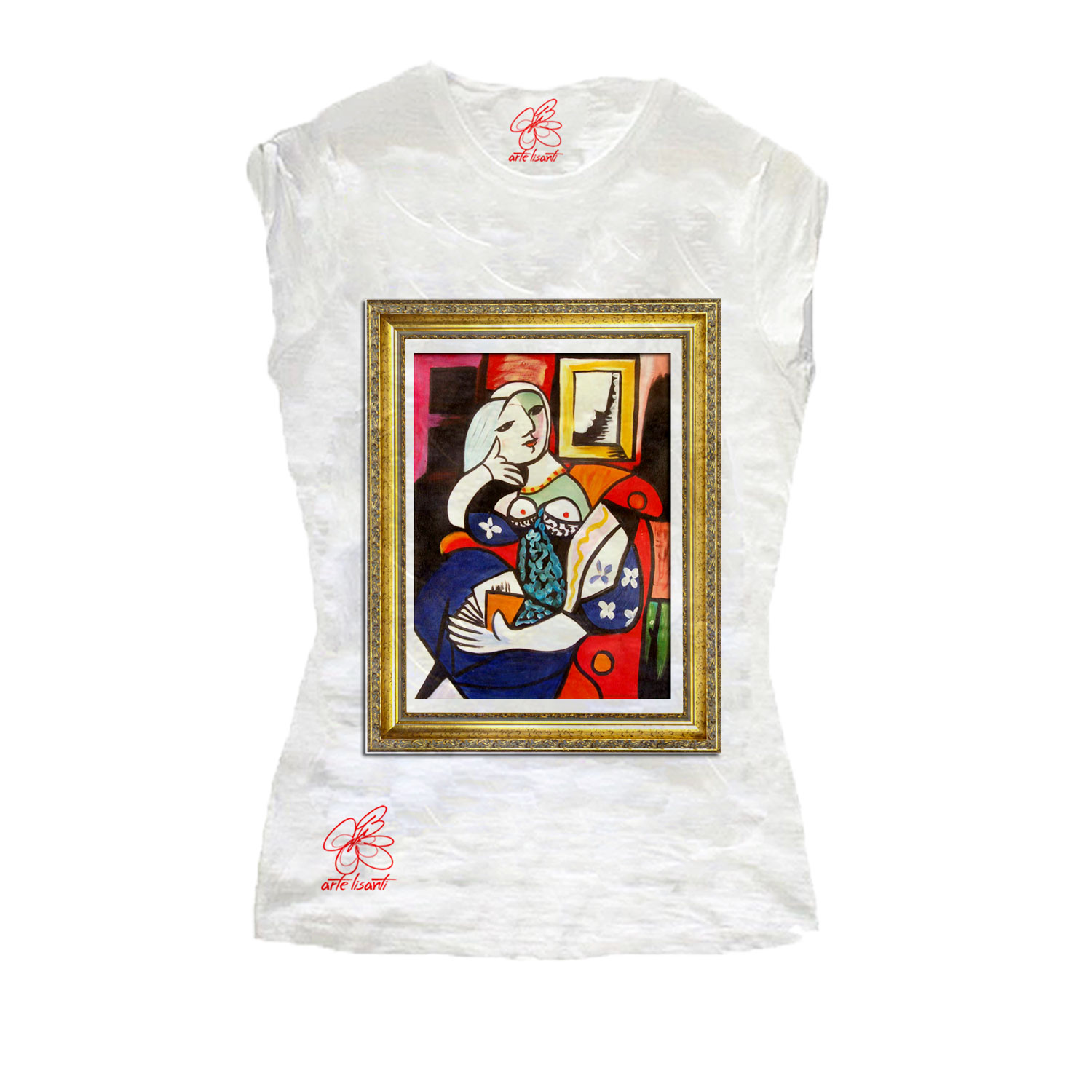 Hand painted t-shirt - Woman Reading by Picasso
