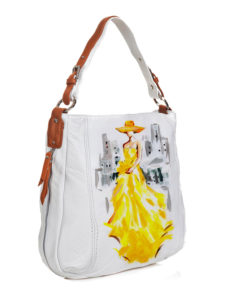 Borsa dipinta a mano - Lady in yellow