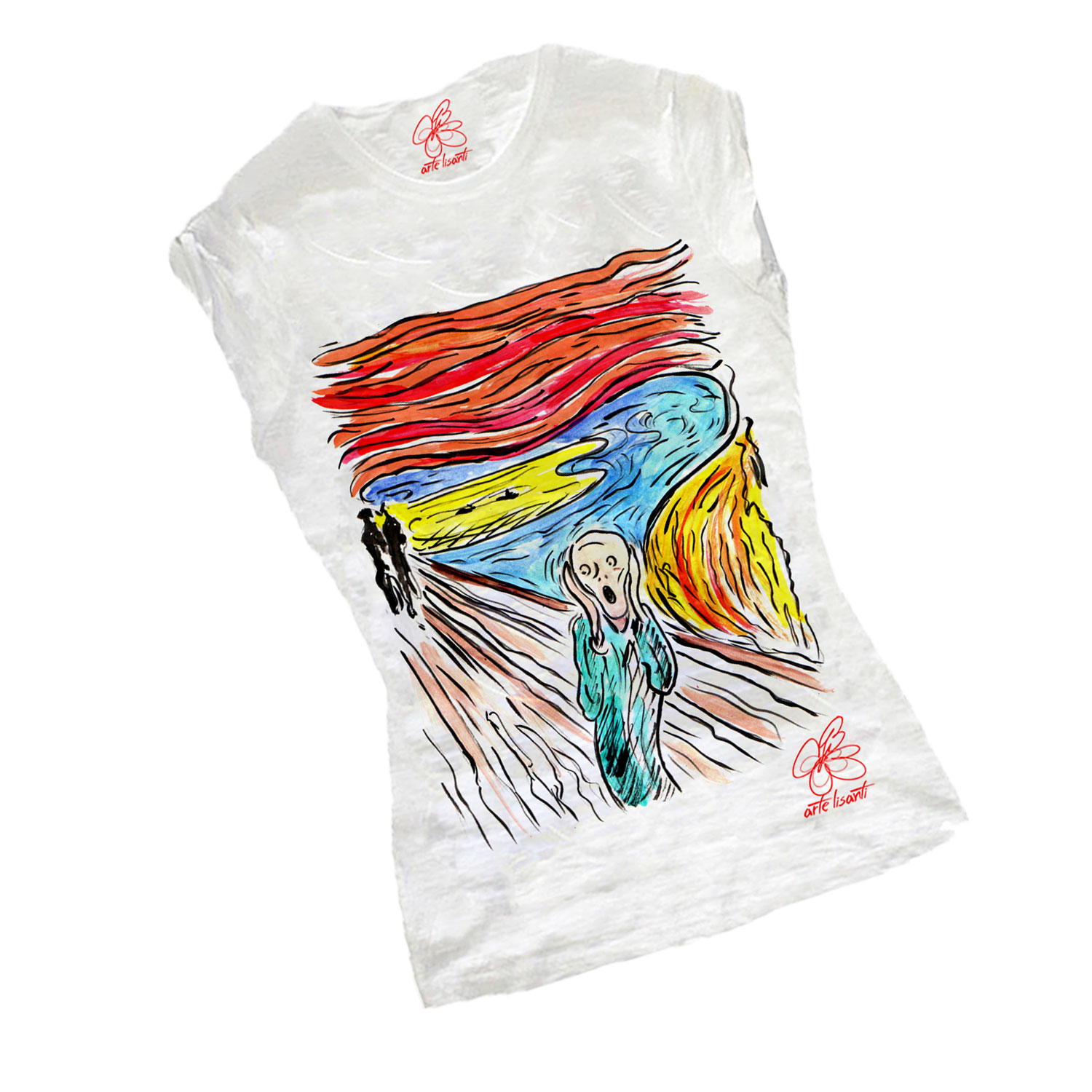 T-shirt dipinta a mano - L'urlo di Munch cartoon color