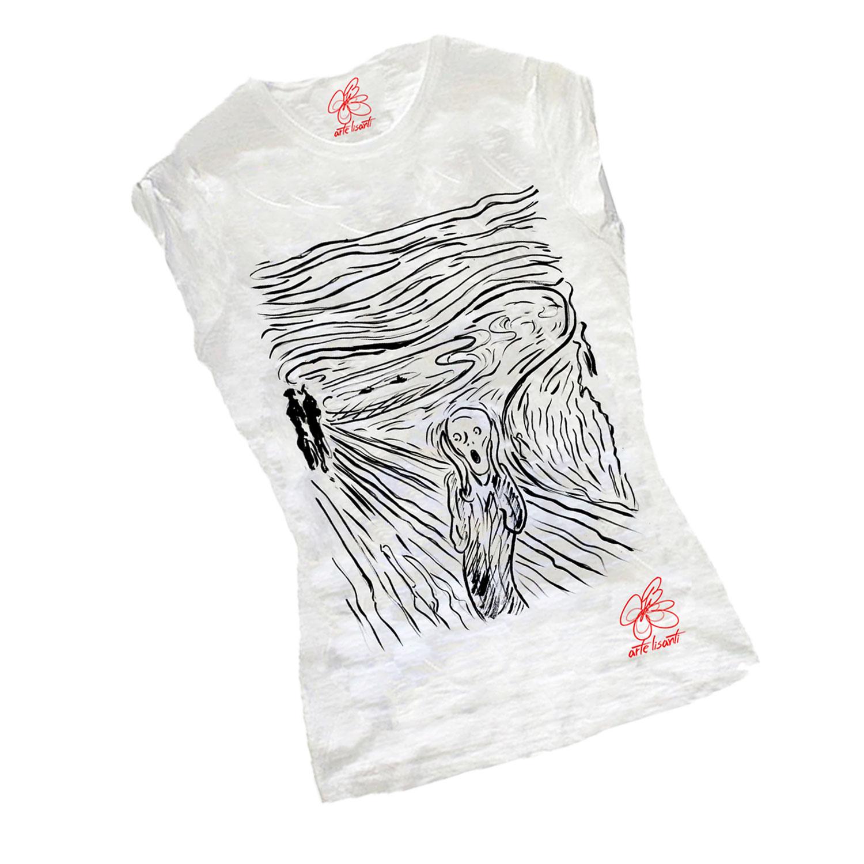 T-shirt dipinta a mano - L'urlo di Munch black and white