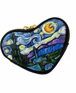 Portamonete dipinto a mano - La notte stellata di Van Gogh