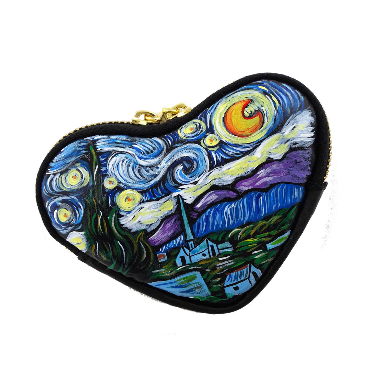 Portamonete dipinto a mano la notte stellata di van gogh for Dipinto di van gogh notte stellata