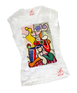T-shirt dipinta a mano - Nudo con natura morta di Picasso
