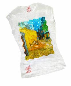 T-shirt dipinta a mano - Caffè di notte di Van Gogh