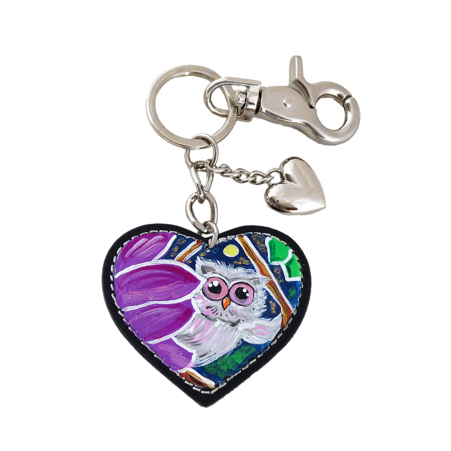 Hand painted keyring - The owl and the moon