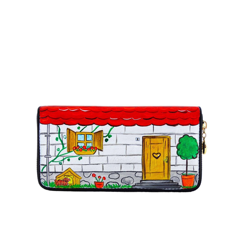 Portafoglio dipinto mano - Home sweet home