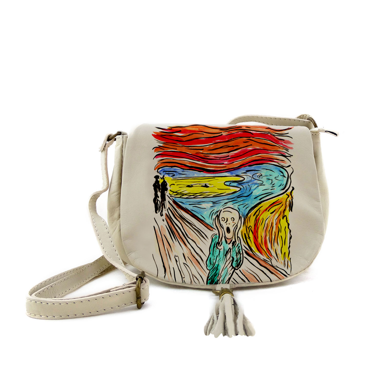 Borsa dipinta a mano – L'urlo di Munch cartoon color