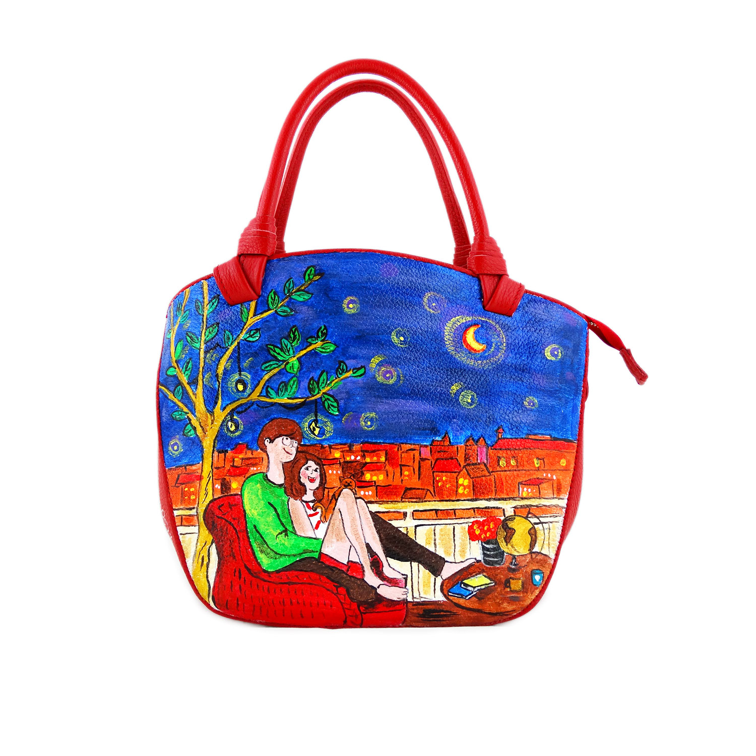 Hand painted bag - Tribute to the lovers by Puuung