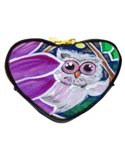 Hand painted coin purse - The owl and the moon