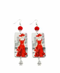 Orecchini dipinti a mano – Lady in red